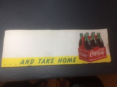 "VINTAGE 1951 COCA-COLA Poster Litho ....AND TAKE HOME 25""x8.5"""