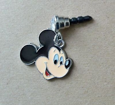 Cell Phone Anti Dust Plug Cover Rhinestone Dangle Charm Disney Mickey Mouse Face