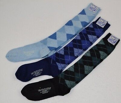 Vtg 70's Lot of 3 prs KNEE-HI SOCKS Soft Orlon ARGYLE 9-11 - Blue/Black/Navy