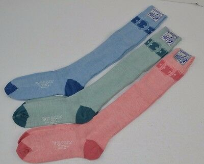 Vtg 70's Lot of 3 prs KNEE-HI SOCKS Soft Orlon BUCKLE 9-11 - Pink/Sea Blue/Blue