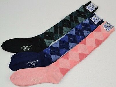 Vtg 70's Lot of 3 prs KNEE-HI SOCKS Soft Orlon ARGYLE 9-11 - Pink/Black/Navy