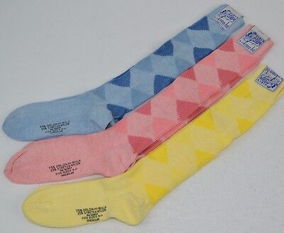 Vtg 70's Lot of 3 prs KNEE-HI SOCKS Soft Orlon ARGYLE 9-11 - Yellow/Pink/Blue
