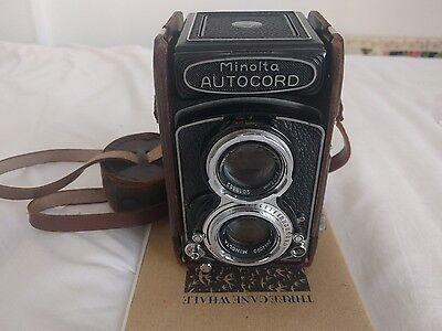 Minolta Autocord tested with film, fully functional, case and lens hood