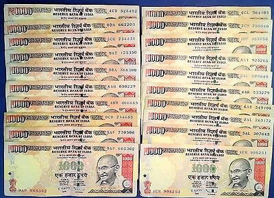 INDIA: 20 x 1,000 Rupee Banknotes - Very Fine Condition
