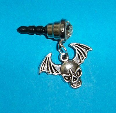 Cell Phone Anti Dust Plug Cover Rhinestone Dangle Charm Skull with Wings