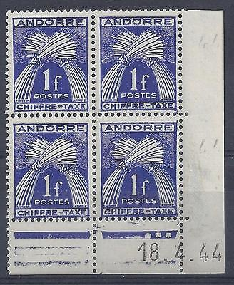 ANDORRE - TAXE N° 24 - BLOC de 4 COIN DATE - NEUF SANS CHARNIERE -  LUXE