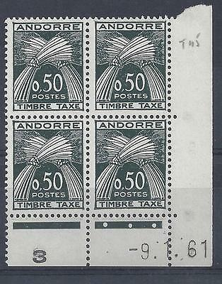 ANDORRE - TAXE N° 45 - BLOC de 4 COIN DATE - NEUF SANS CHARNIERE -  LUXE