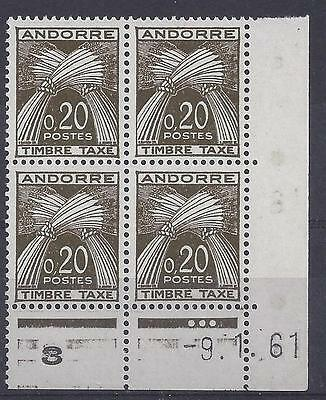 ANDORRE - TAXE N° 44 - BLOC de 4 COIN DATE - NEUF SANS CHARNIERE -  LUXE