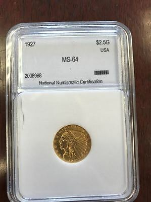 1927 $2.5 Gold Indian 64 Flawless Beauty