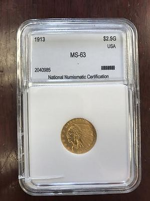 1913 $2.5 Gold Indian 63 Flawless