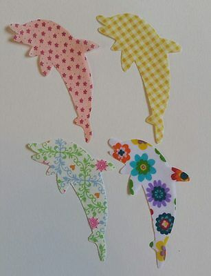 Set of 4 fabric iron on dolphin motifs/patches embellishments