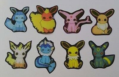 Set of 8 fabric iron on Pokemon motifs/patches embellishments