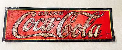 1930's Drink Coca Cola Tin Advertising Sign -  Coke Soda Vintage Original