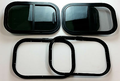 "(2) 12"" x 18"" 90° Radius Trailer Windows w/ Screen, Clamp Ring for 1-1/4"" Wall"