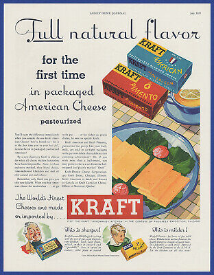 Vintage 1933 KRAFT 1st Pasteurized Packaged American Cheese Pimento Print Ad