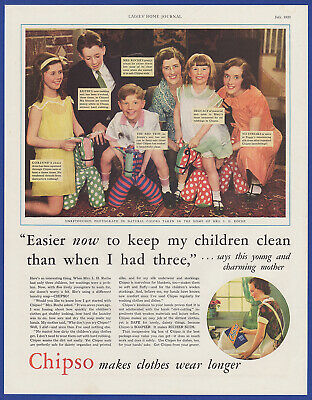 Vintage 1933 CHIPSO Laundry Detergent Print Ad 30's