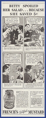 Vintage 1933 FRENCH'S Certified Mustard Comic Strip Print Ad 30's