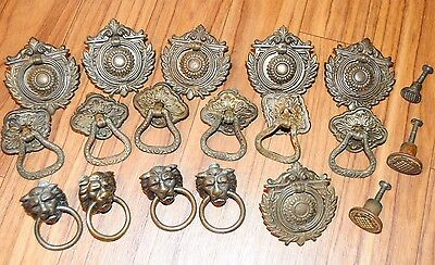19 PCS Antique Dresser Pull Set Lions Head And LOTS MORE! Architectural Recovery