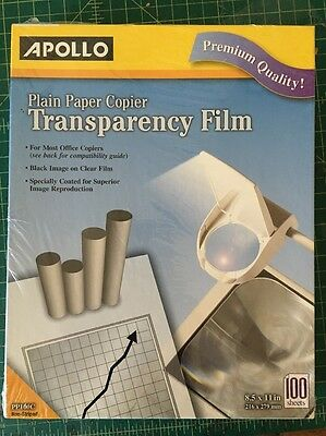 Apollo Plain Paper Copier Film without Sensing Stripe 8.5 x 11 Inches Clear 100