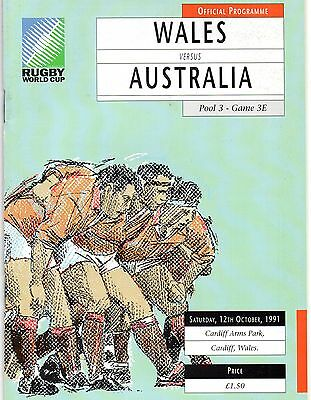 1991-Wales V Australia (Winners)-World Cup Finals Pool 3-Rugby Union Programme
