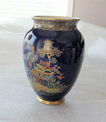Carlton Ware Vase  Superb Temple Pattern Blue & Gold 1927
