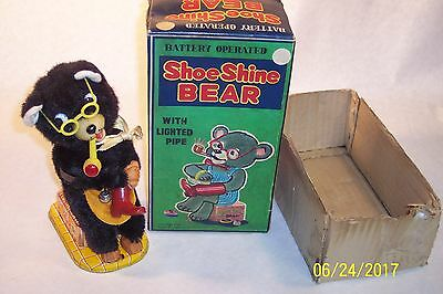 1960's BATTERY-OP SHOESHINE BEAR TOY WITH ORIGINAL BOX WORKING CONDITION