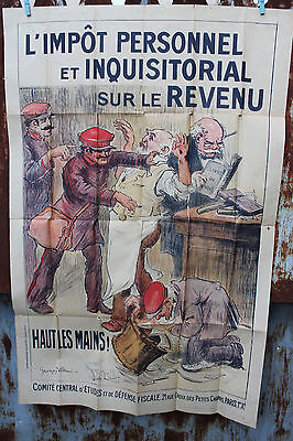 Ancienne affiche politique Georges Villa l'impot personnel et inquisitorial