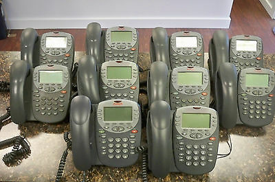Lot of (10) Avaya 4610SW IP Digital Office Phones with Handsets & Stands