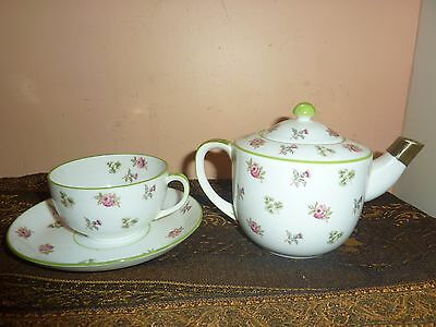 Foley Art China [Peacock Pottery] Cup &saucer With Teapot With Rose/leaf Pattern