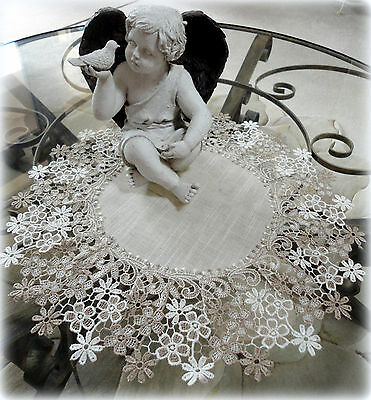 """Large Doily Sophisticated Floral Neutral Daisy Dresser Scarf Table Topper 16"""""""