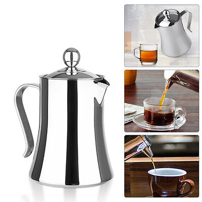 Stainless Steel French Press Cafetiere Filter Tea Coffee Maker 8 Cup 1 Litre NEW