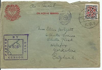 NEW ZEALAND YMCA ON ACTIVE SERVICE 9d SCARLET AND BLACK ON COVER TO ENGLAND 398