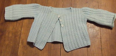 Vintage Blue Knit Baby Sweater Pearl Buttons Doll Child Clothing