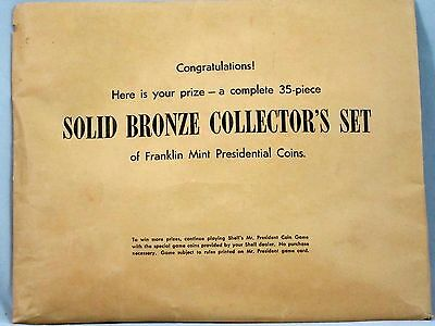 Franklin Mint Shell Mr. President Coin Game Presidential Bronze 1968 Sealed Set