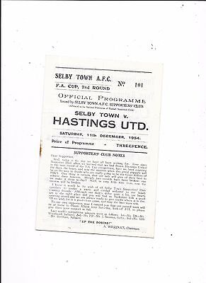 Selby Town v Hastings United FA Cup 2nd Round 11/12/1954