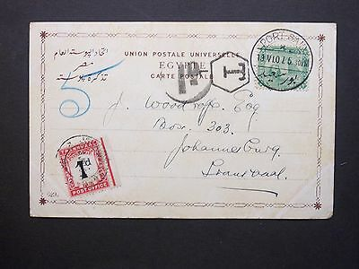 1907 Egypt 2m Postcard PORT SAID to Transvaal '1d' charge & 1d Postage Due stamp