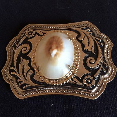 Vintage Rare Genuine OPIHI Hawaiian Seashell Belt Buckle Gold Tone Black Metal