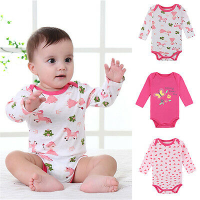 3 Sets Baby Girl Kids Long Sleeve Cartoon Romper Bodysuit Baby Clothes Jumpsuit
