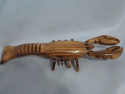 Hand Carved Wooden Lobster Crayfish Figurine
