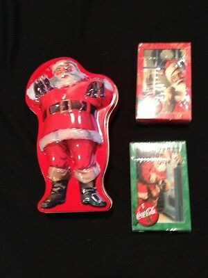 Coca Cola Santa Tin with 2 Unopened new playing card packs coke cards