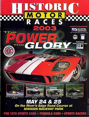 Historic Motor Races Program Mission Raceway 2003 British Columbia Canada