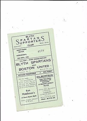 Blyth Spartans v Boston United FA Cup 1st Round Replay 24/11/1954