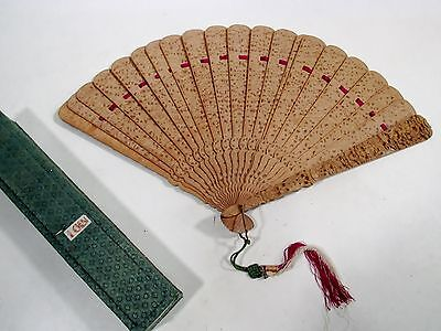 Fine Antique CHINESE 19thC Export Double Sided Carved Sandalwood Brise FAN