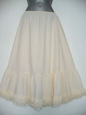 Vintage BHS BUTTERMILK CALF-LENGTH FULL PETTICOAT WITH LACE Hips 38/40 Length 29