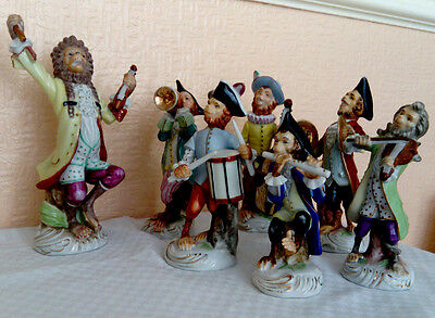 Antique Monkey Band 7 Musicians, Possibly German Volkstedt All From Same Factory