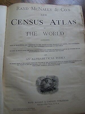 Antique -1915 Rand Mcnally & Co. Census Atlas Of The World