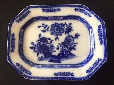 Early Antique John Maddock CANTON Flow Blue Large Octagon Platter