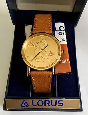 MICKE MOUSE WATCH Lorus VINTAGE battery NEW in box GOLD