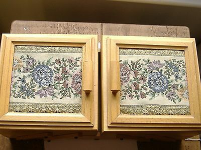 Fairly Large Vintage  Wooden Sewing Box With Tapestry Top