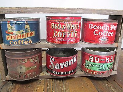Antique Coffee Tin Can Collection and Primitive Display Coffee Shop Advertising